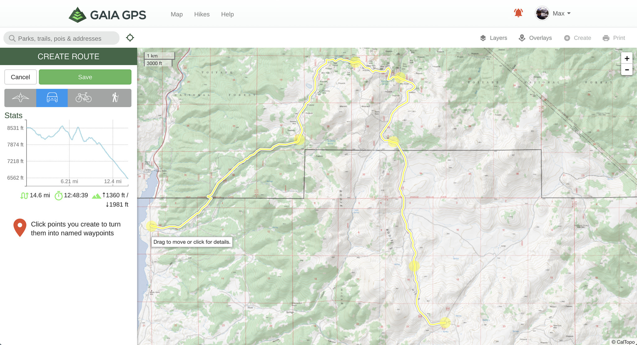 "Using the ""create a route"" tool on the Gaia GPS website"