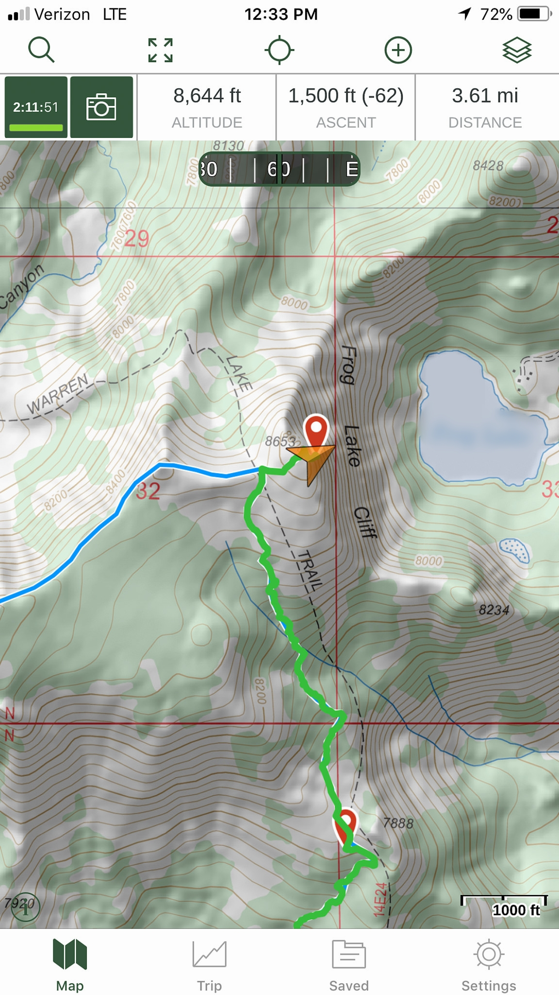 Gaia GPS tracking a hike in the Sierra Nevadas