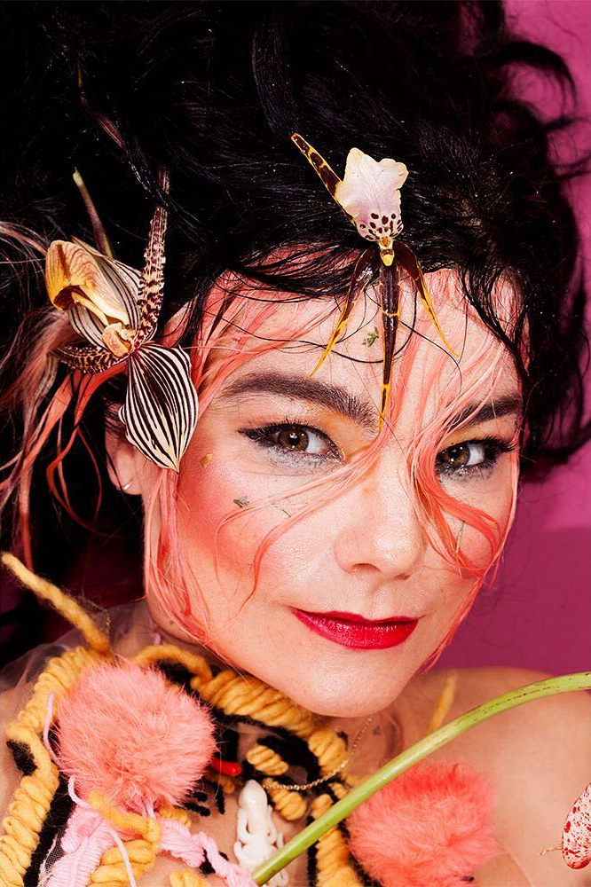 Model:  Björk               Photography:  Maisie Cousins                        Makeup:  Slater Stanley   Hair:   Owen Gould   Floral Design:   Brittany Asch                             Creative Direction:  James Merry