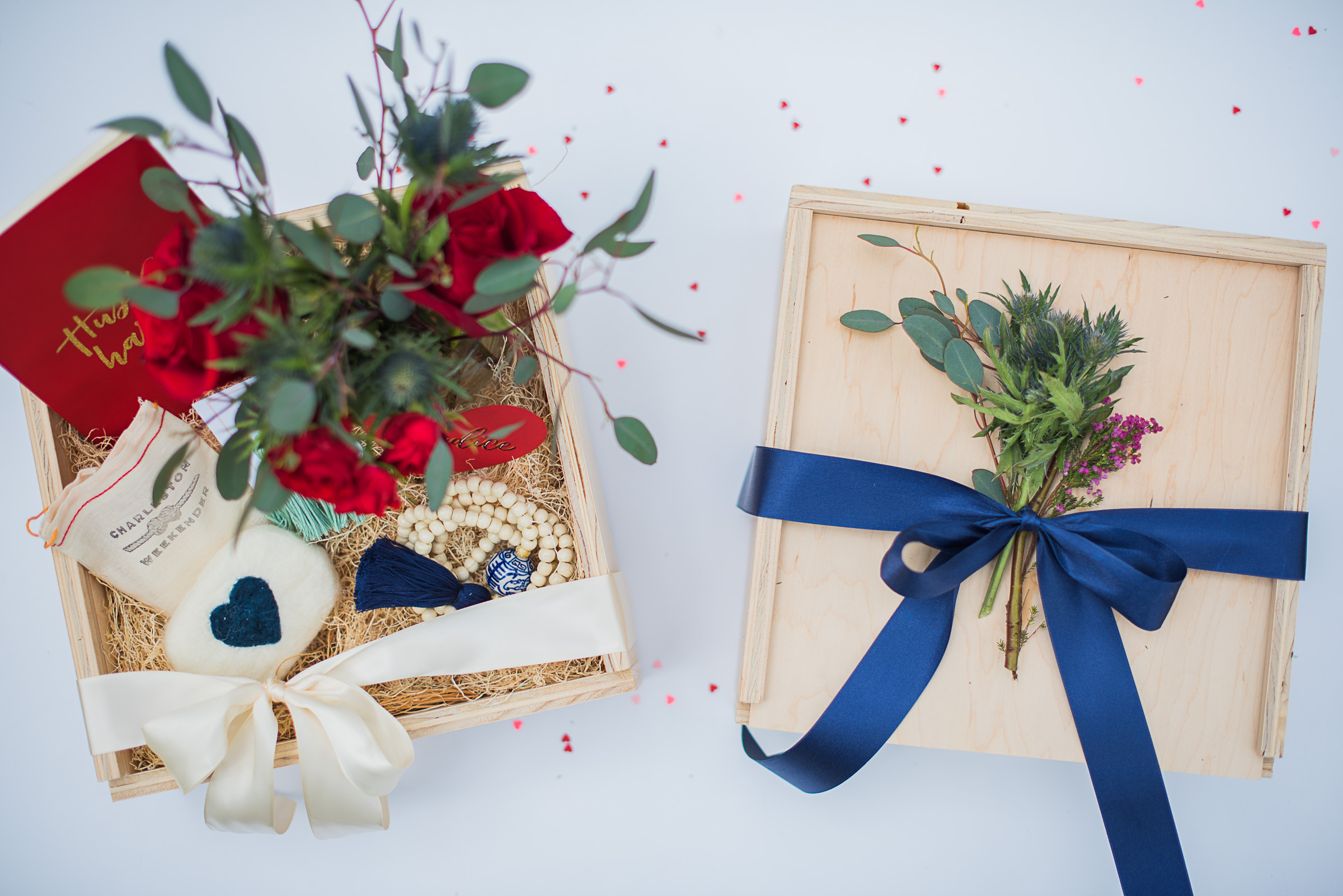 Gorgeous gift boxes from The Blue Root, Featuring Felted Soaps from The Charleston Weekender, Hand Lettered Notebooks from The Town Serif & Our Signature Tassel Earrings & Elliotborough Necklace