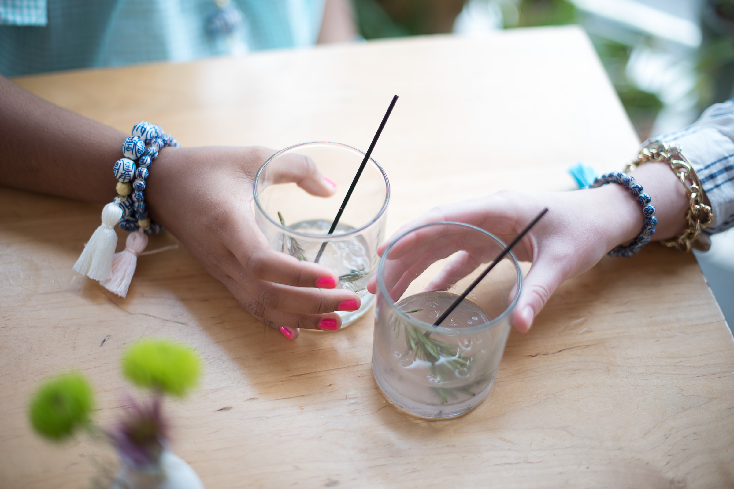Cocktails topped with burnt rosemary,  The Park Cafe  really knows how to serve a pretty & delicious drink. Pictured above are our new  Amherst  &  Percy  tassel bracelets.