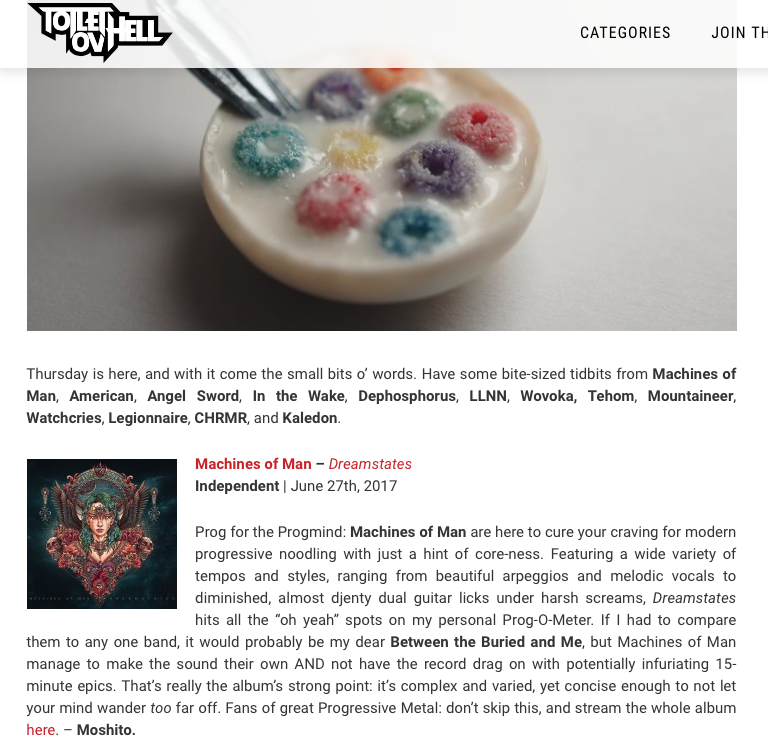 Toilet ov Hell Machines of Man Dreamstates Review