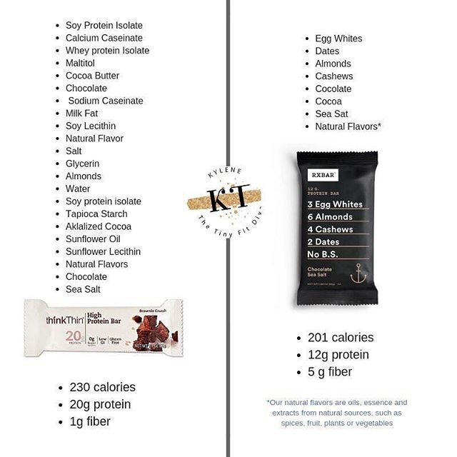 """I get asked ALL the time about what to do when you are out and about and need a snack...while Rx bars are not my only suggestion, they are a great tool!!🙋♀️ #  I love this particular comparison for 2 reasons: #  1) ✔️✔️""""Think Thin"""" is such a diet catch phrase. Marketers are smart and they use colors, labels and words to make our brains attracted to something. Labels that say 'fat-free"""", """"sugar-free"""" etc.... are tempting and may SOUND healthy but when you take a look at the ingredients it's almost always less than stellar.😭 #  2) Labels are where it's at....something that is labeled as a health food has soy and sugar substitutes and even with those sacrifices has MORE calories than the bar on the right. Soy can be problematic for us because it mimics estrogen in the body (estrogen dominance is the most common hormone imbalances) AND because unless labeled otherwise, is normally a GMO product. # 🍒🍓🥝We want to eat the least amount of processed food as possible right? But when we are busy having things that other people made for us is OK.😘 It's part of life. What we want to look for is brands that are conscientious and bout HEALTH not just fad marketing words.  #  A few other snack bars I'd recommend checking out: Bulletproof Lara That's It  Raw Revolution  #  Not every bar will have 6 ingredients or less....some may have just as long a list as the Think Thin bar....if that's the case make sure you read it and understand what's in it. Sometimes its ok, sometimes it's better to pass on by....💩 #  Need fast easy, delicious, healthy dinners? Download my free ebook! (LINK IN PROFILE) 👆🏻👆🏻👆🏻 # What's YOUR go-to snack on the go?👇👇👇👇"""