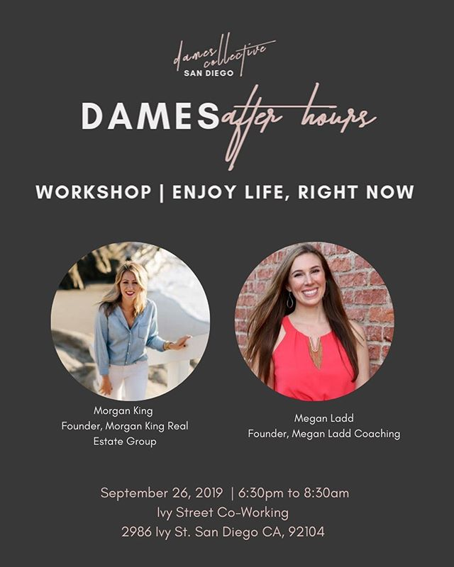 "It's finally here!!! 🎉  Tomorrow night I'm co-hosting an epic event for female entrepreneurs with my friend Morgan King 👯‍♀️ It's called ""Enjoy Life, Right Now"" and will be from 6:30-8:30pm at Ivy Street Co-working in South Park.  Morgan is a real estate agent based in La Jolla, and shares my love of all-things self-development. The two of us teamed up with Dames Collective, one of my favorite women's networking groups in San Diego, to share the tools and lessons that have helped us create lives we love while building thriving businesses 💪🏻 One of the most valuable lessons we've learned is that struggling your way to success is OPTIONAL!  In fact, the more you enjoy your life and business *right now*, the more quickly you will experience the results you desire…and the less overwhelm, exhaustion, and burnout you will feel along the way as you create those results 💃🏻 Learning this and experiencing it was revolutionary for me, and it's what we'll be diving into more deeply during tomorrow's workshop.  Morgan will be teaching, and then I'll be offering real-time LIVE 1-on-1 coaching to work through any blocks getting in the way of achieving your goals💥  Click my profile link to get your ticket and reserve your spot. See you there 🤗"