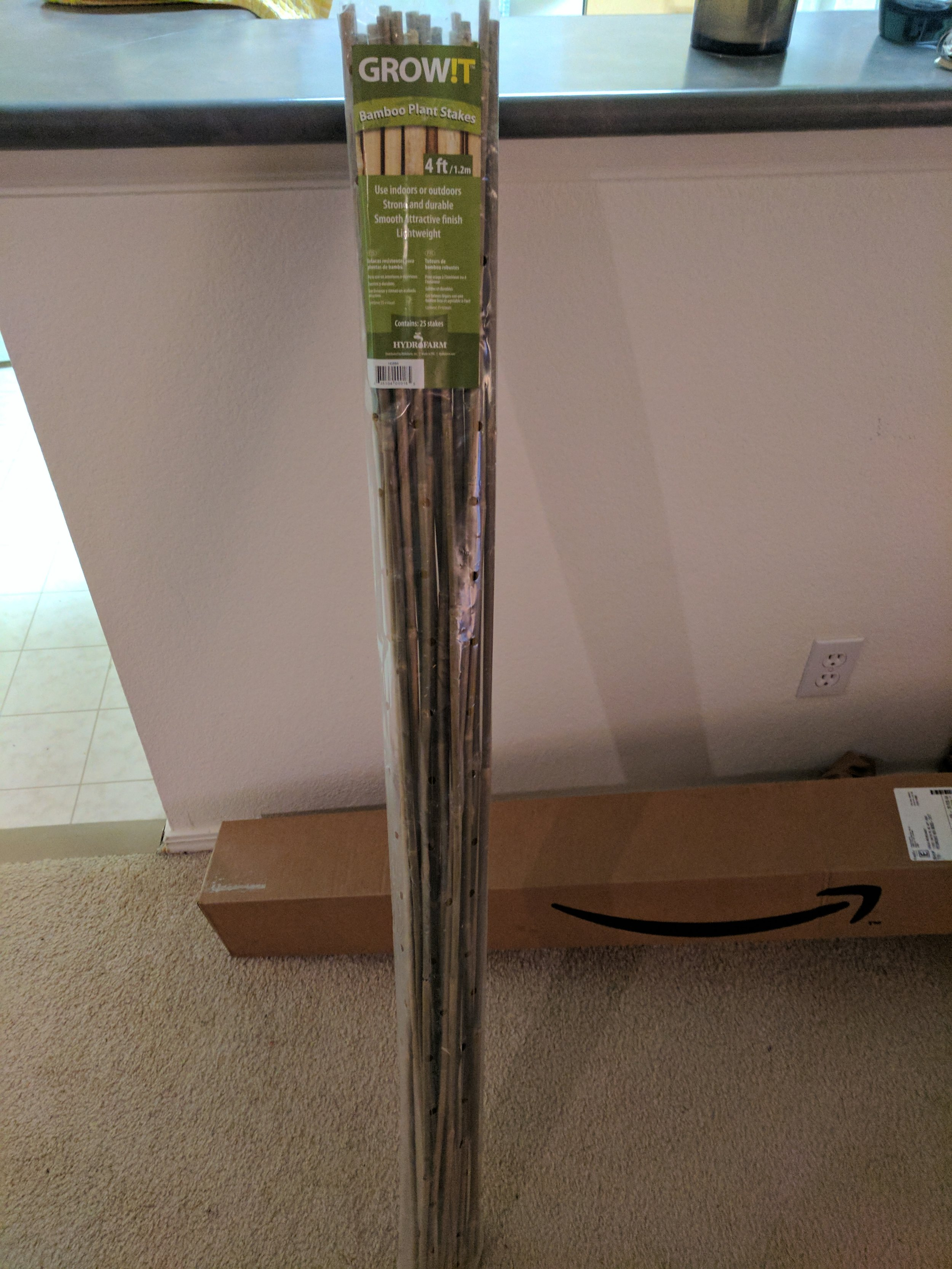 1. Select three bamboo stakes per plant