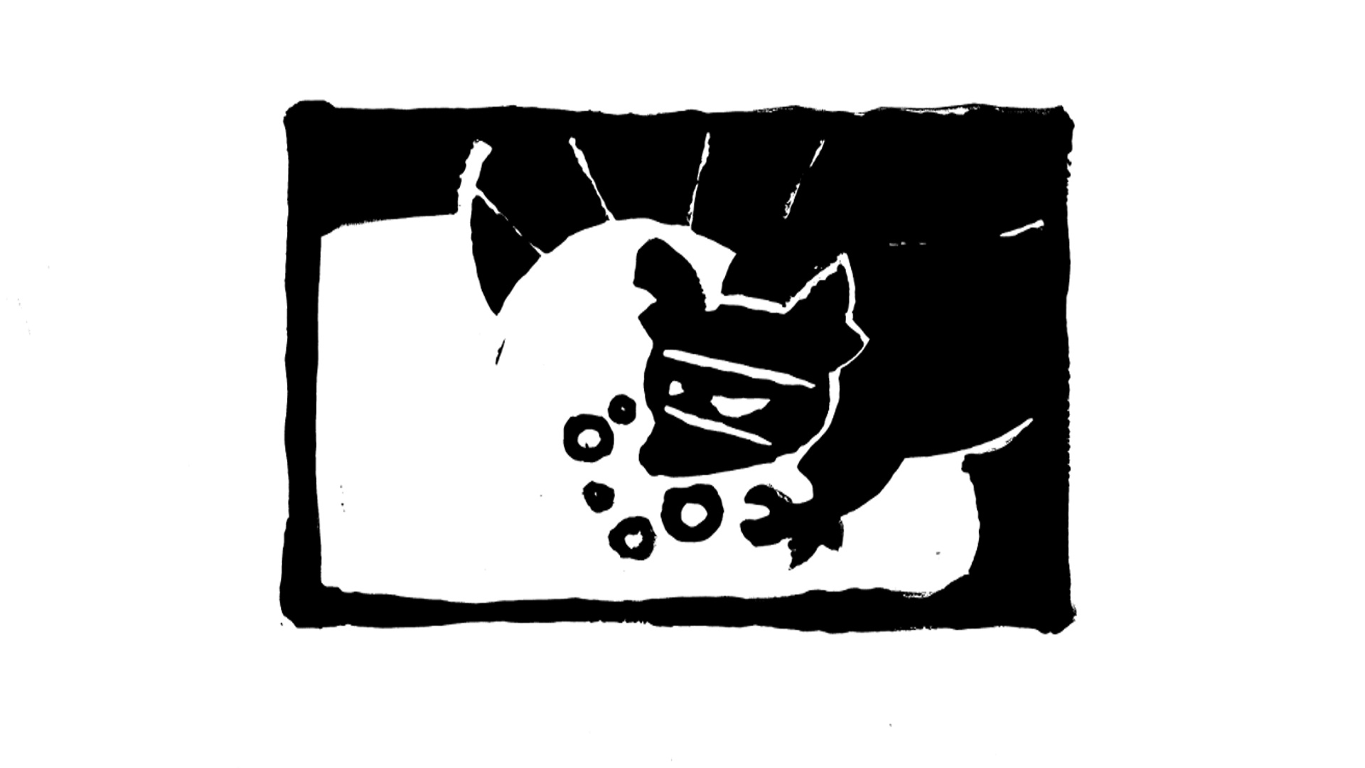 "One of five block print illustrations by JoJo for episode six, ""The Raccoon Box""."