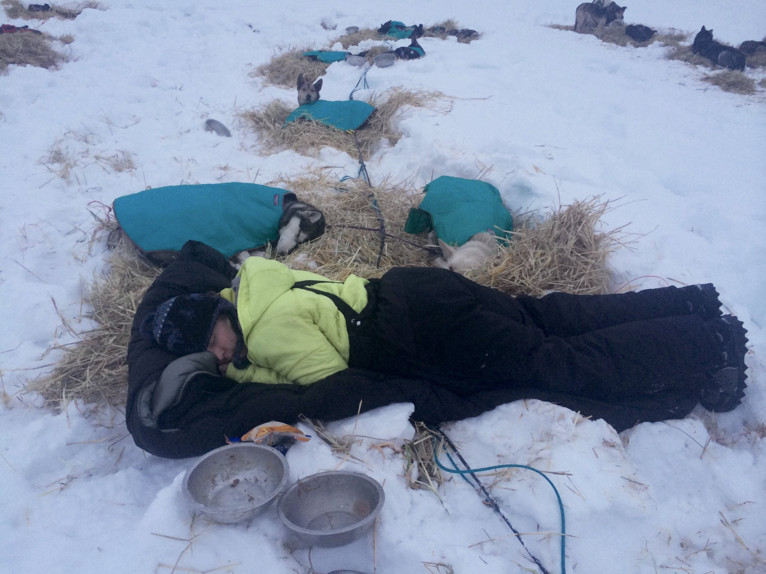 Mary sleeping with her team during the 2015 Copper Basin 300