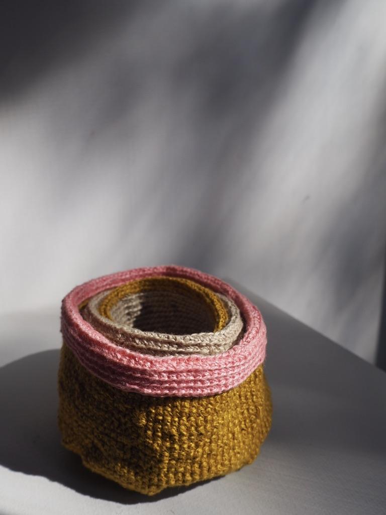 Al Munro crochet linen nests