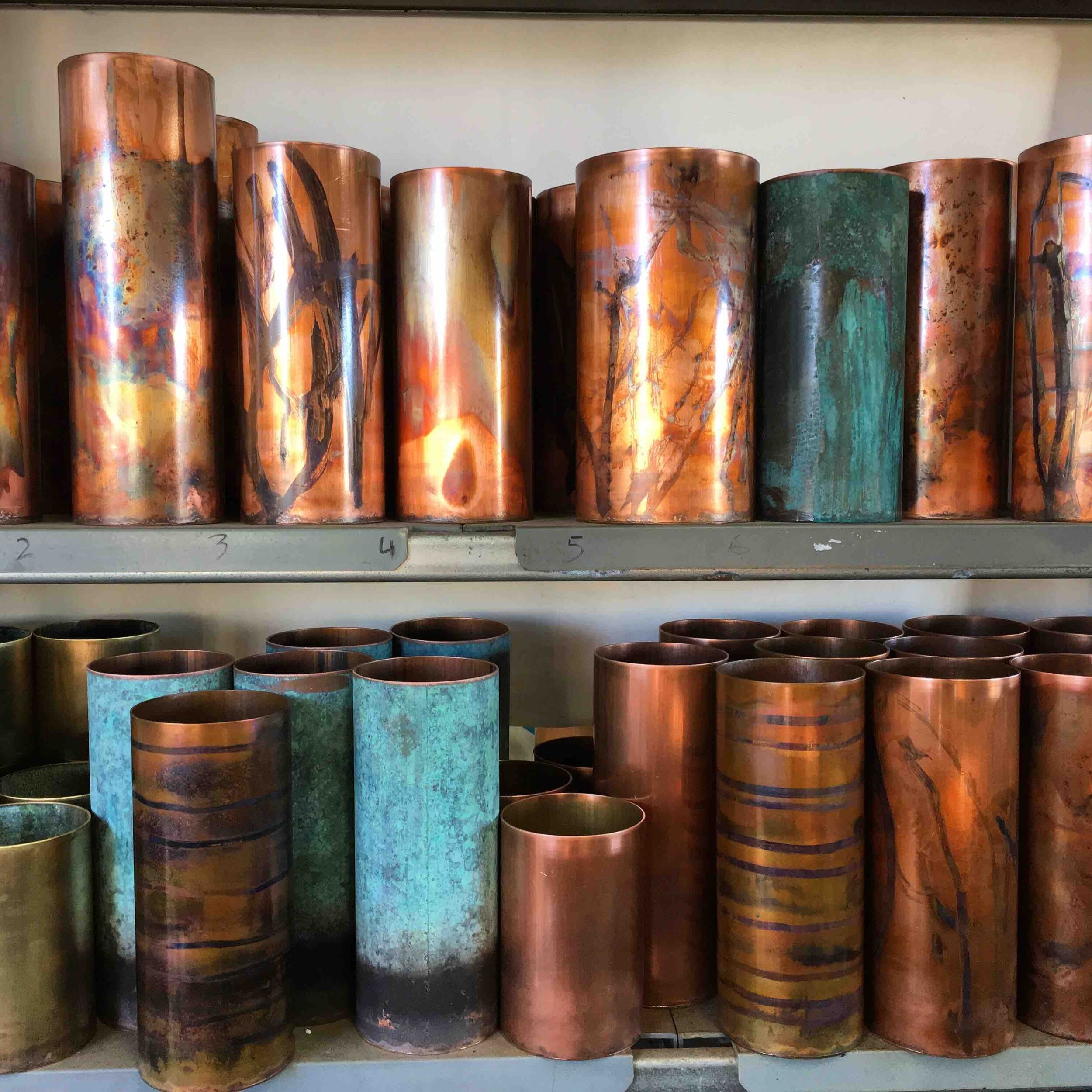 GOST welcomes David from Greybox Designs - We are pleased to welcome David Suckling to the GOST stable. I first spied his brilliant polished copper vases at China Clay in Clovelly. Owner Cecilia recommended him highly and when I realised he was just down the road (well over the highway and tucked into rural NSW) off I went to check out his studio. I certainly got studio envy with the size (way bigger than our garage, studio and gallery combined!) and his handcrafted tools. His vases are available to see in person.