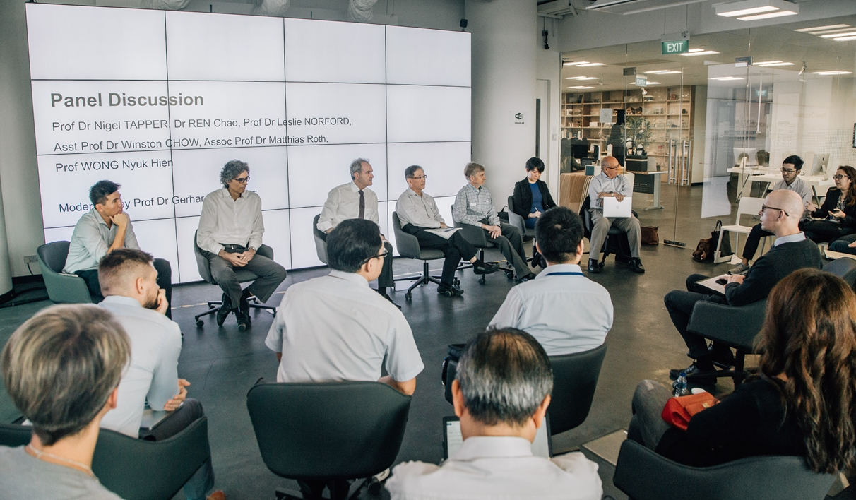 Fig 7. Workshop #3 – Panel Discussion with Prof Winston Chow, Prof Matthias Roth, Prof Gerhard Schmitt, Prof NG Wong, Prof Leslie Norford, Prof Chao Ren and Prof Nigel Tapper / Source: Lina Meisen Photography 2018