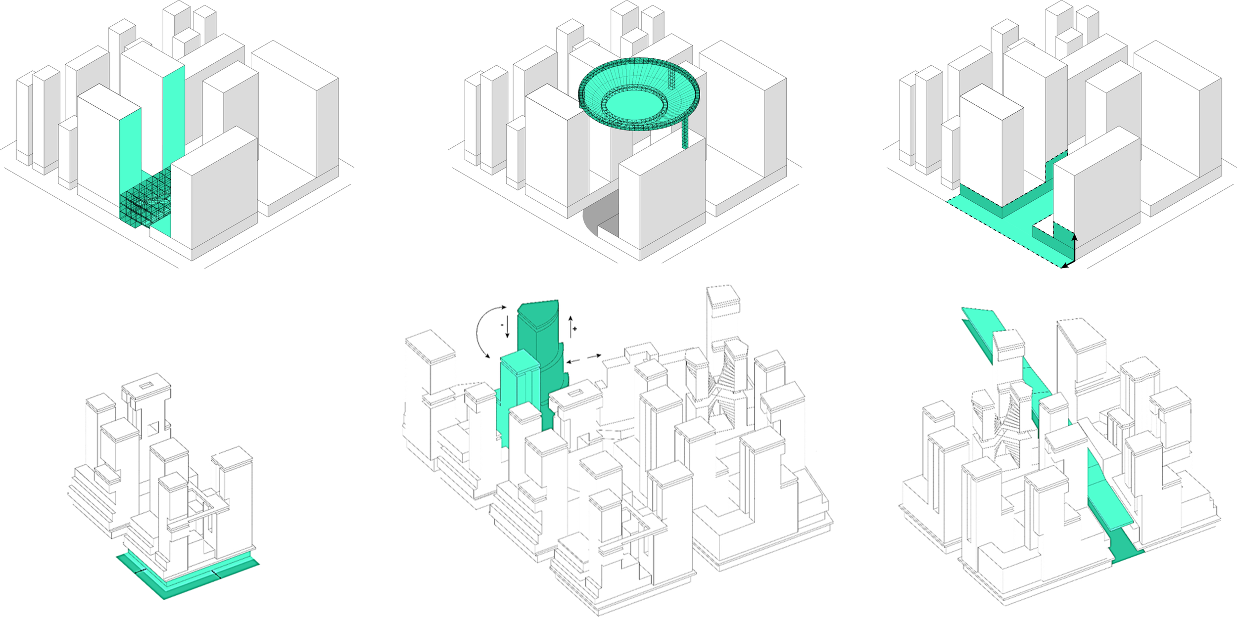 Source: Lea Reufenacht  Top (left to right): Increase setbacks on ground floor from 4 to 9 meters; Re-arrange and re-orientate punctual buildings blocks; Adjust height, location and form of C-walk. Bottom (left to right): Increase number of trees (33% and 60%); Install large-scale urban canopy/pergola to increase shading; Retrofit pavement and façade materials with green facades and retro-reflective materials at different heights.