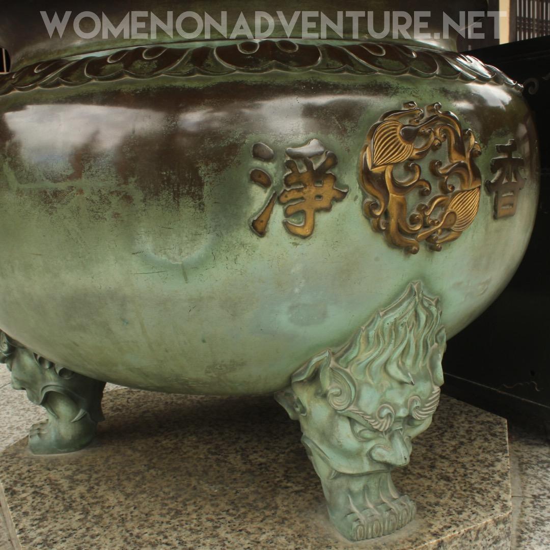Temple cauldron, bronze, in Kyoto Japan