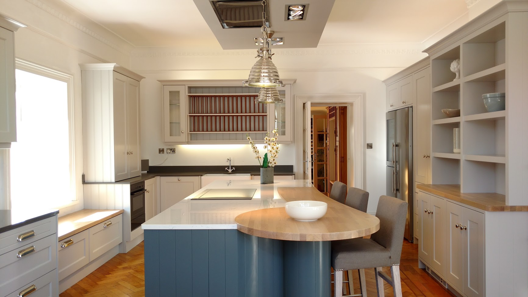Painted Grey Kitchen & Navy Painted Island
