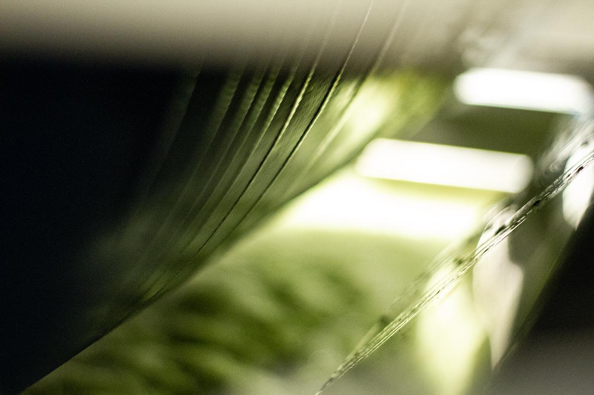 So sieht es in den Zwischenräumen der Presse aus, der ausgepresste Saft läuft in das Auffangbecken.