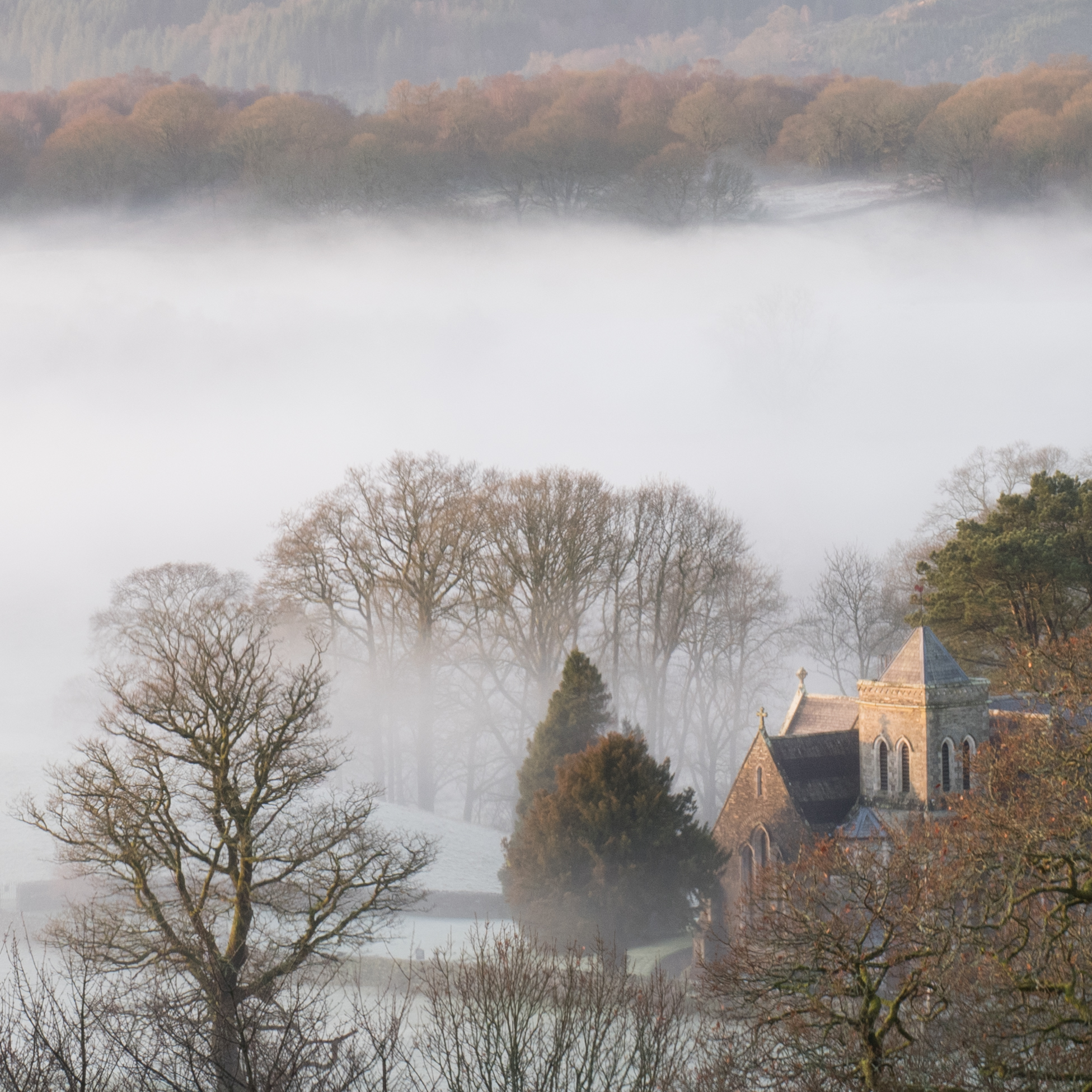 Looking down to St Peters Church, Far Sawrey. December 2018