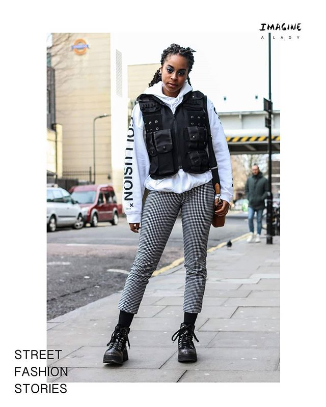 """I have received this technical vest from a friend, as a secret Santa present. I love it. I'm wearing it today because I'm filming for my fashion and beauty youtube channel."" Faith 🦅  Discover more stories from inspiring ladies 👉🏽https://www.imaginealady.com/street-fashion-stories  #ootd #fashion #streetfashionstories"