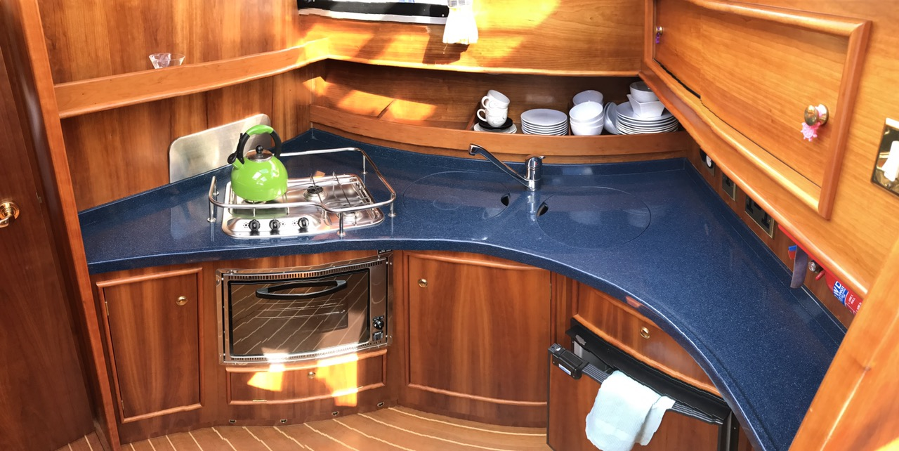 Kitchen on our rental cruiser on the river shannon