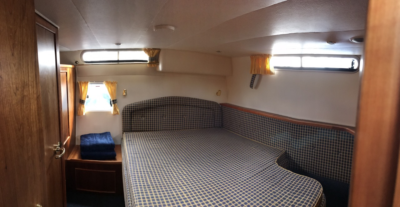 King size bed on our rental boat on the river shannon