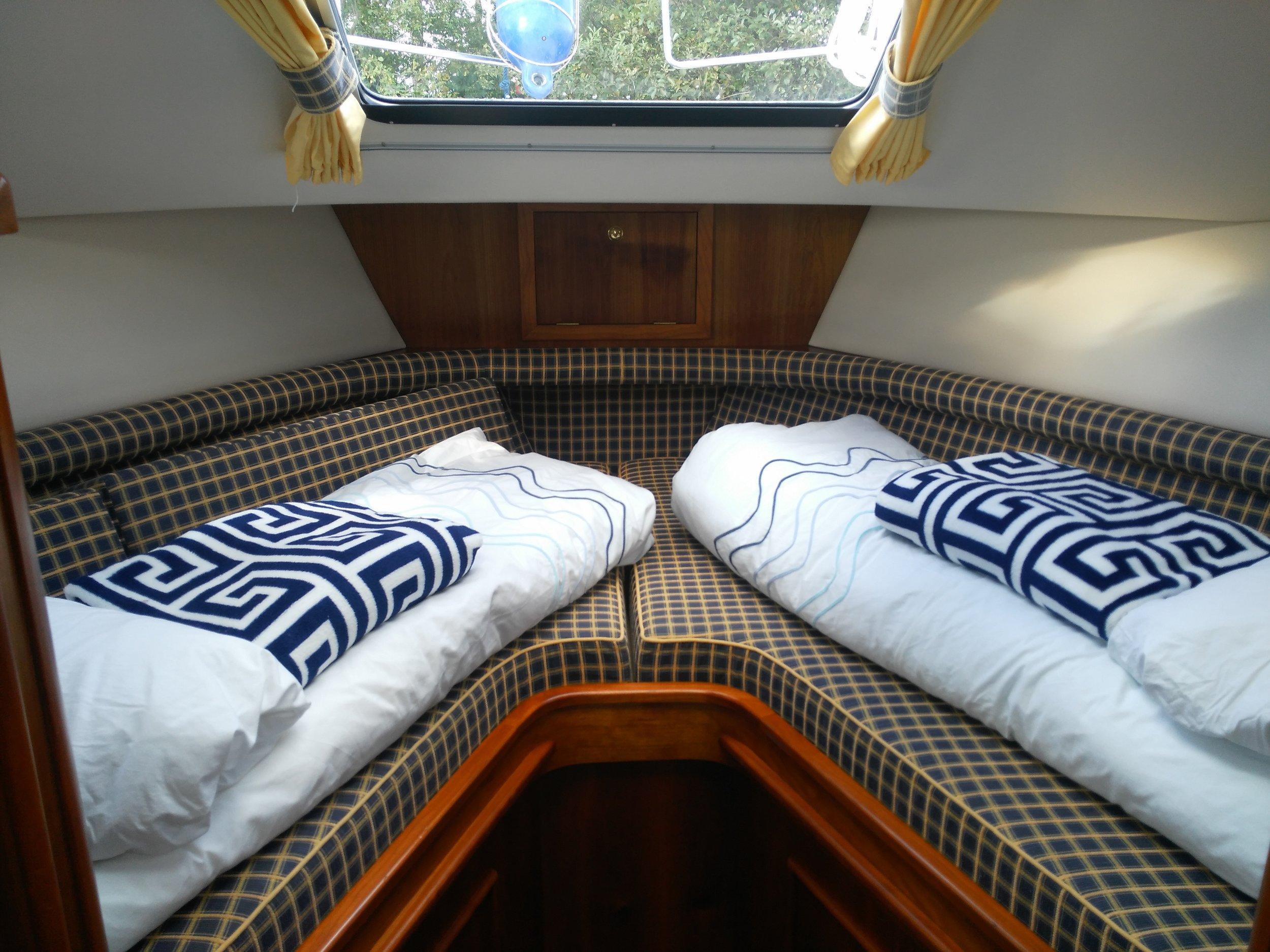 Front cabin on our hire boat cruiser on the river shannon
