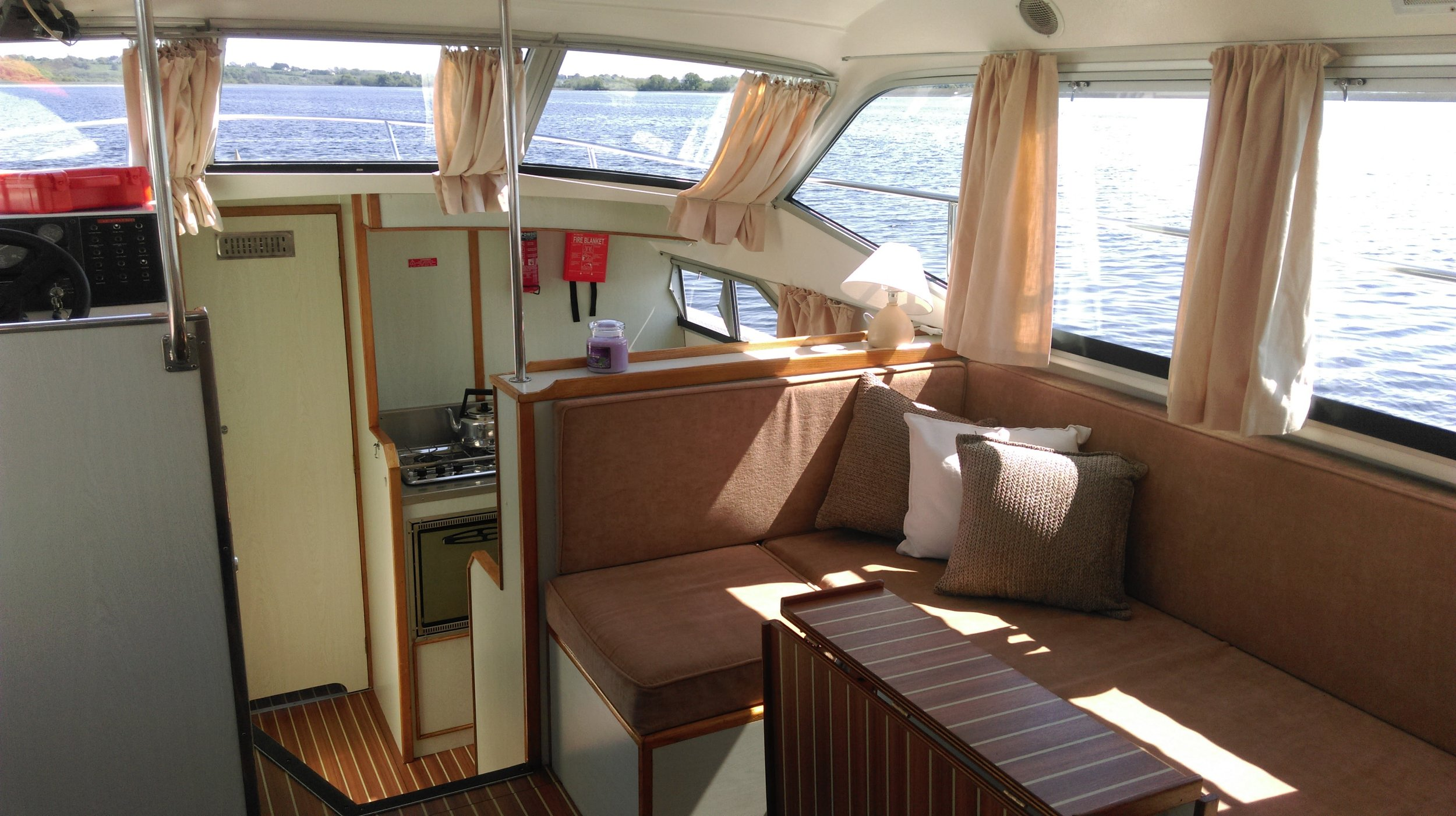 Inside our hire boat on the River Shannon. boating in Ireland.