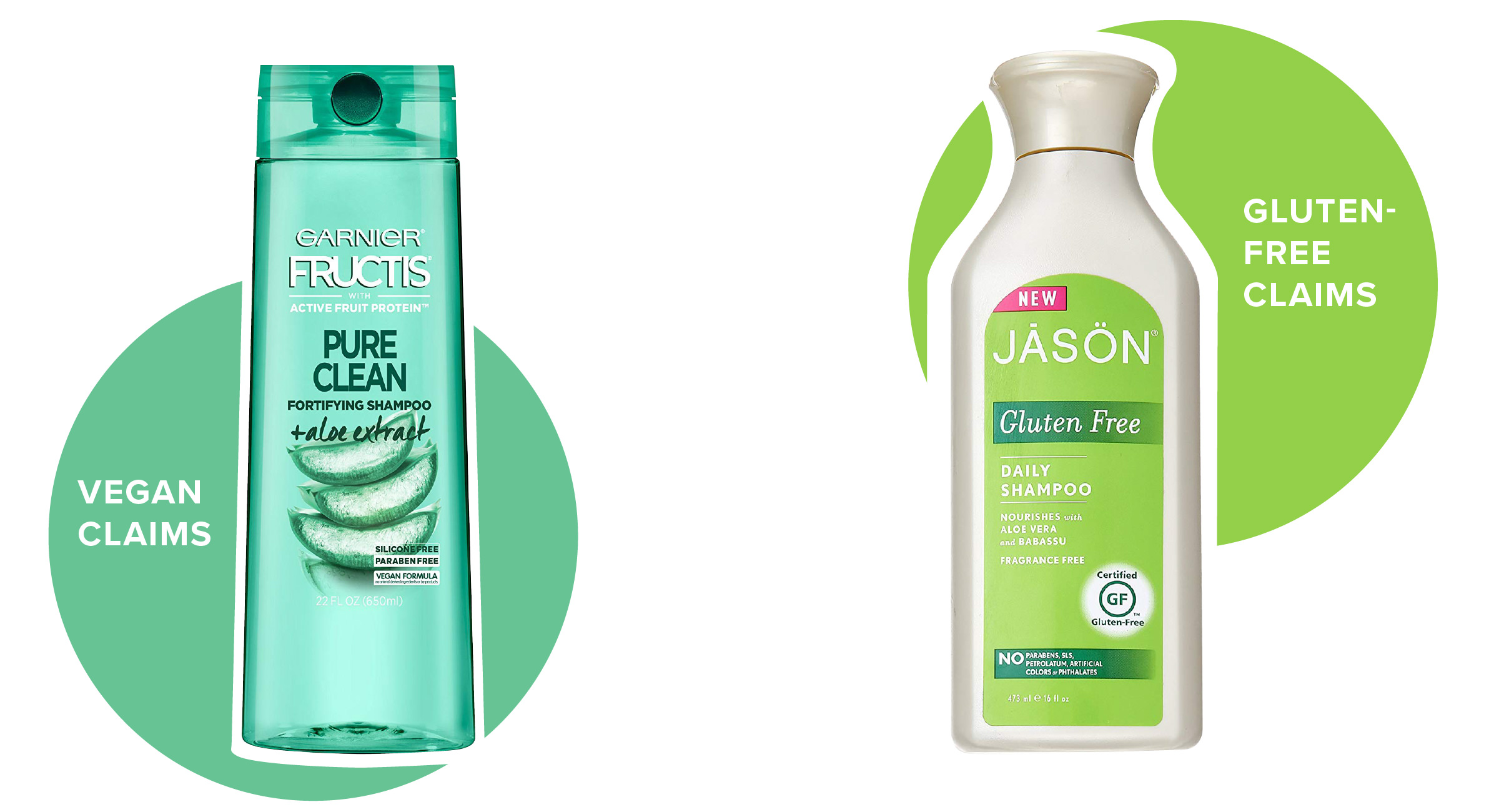 Shampoos with gluten-free and vegan claims: Garnier with a vegan formula and Jason with an apparent gluten-free claim