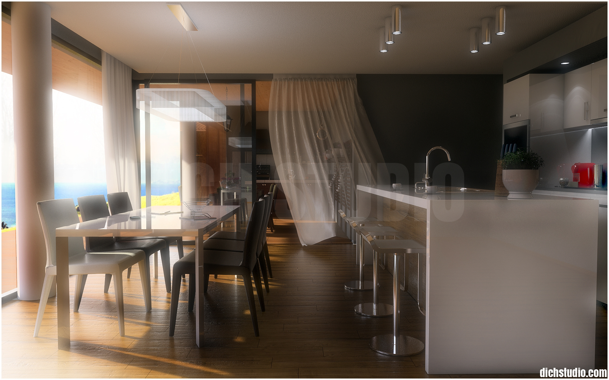 3D rendering of dinning and kitchen, Varna