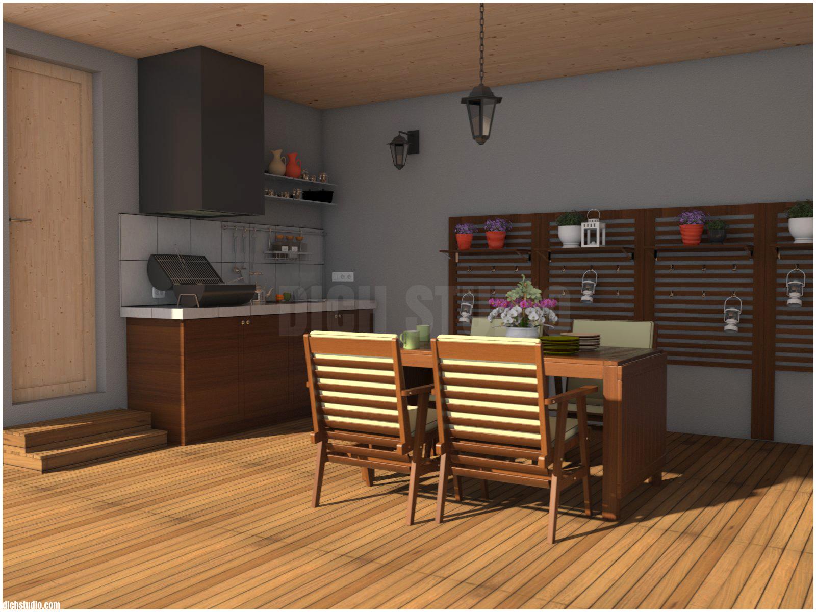 3D - veranda, house near Varna