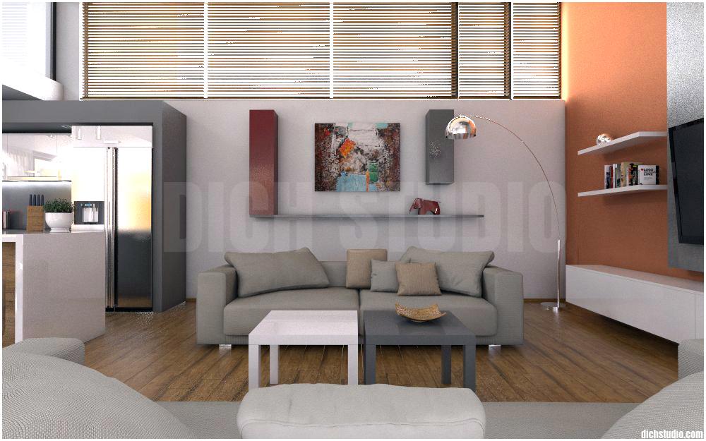 3D - living room, house near Varna