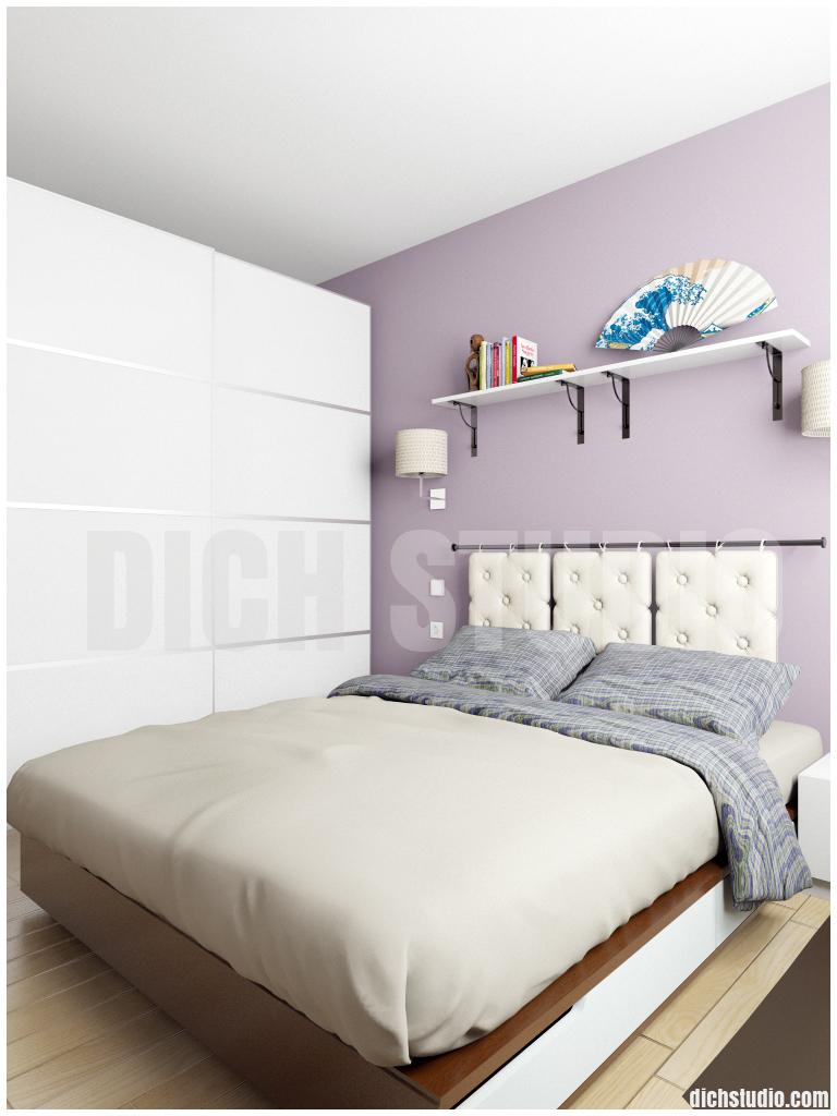 bedroom in purple