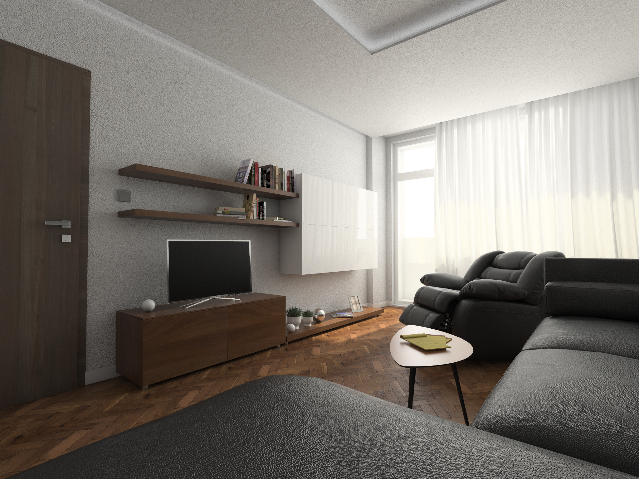 Living room, rendering, Banishora, Sofia