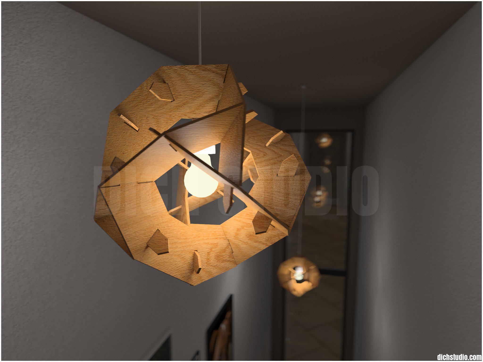 3D - detail of light in staircase, house near Varna