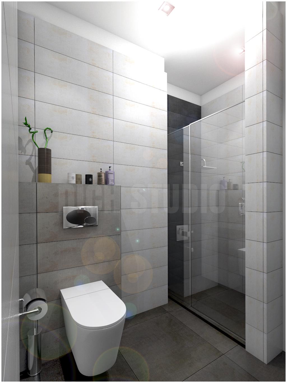 Bathroom grey white tiles