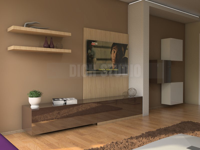 Interior design of an apartment - tv set living room, Reduta, Sofia
