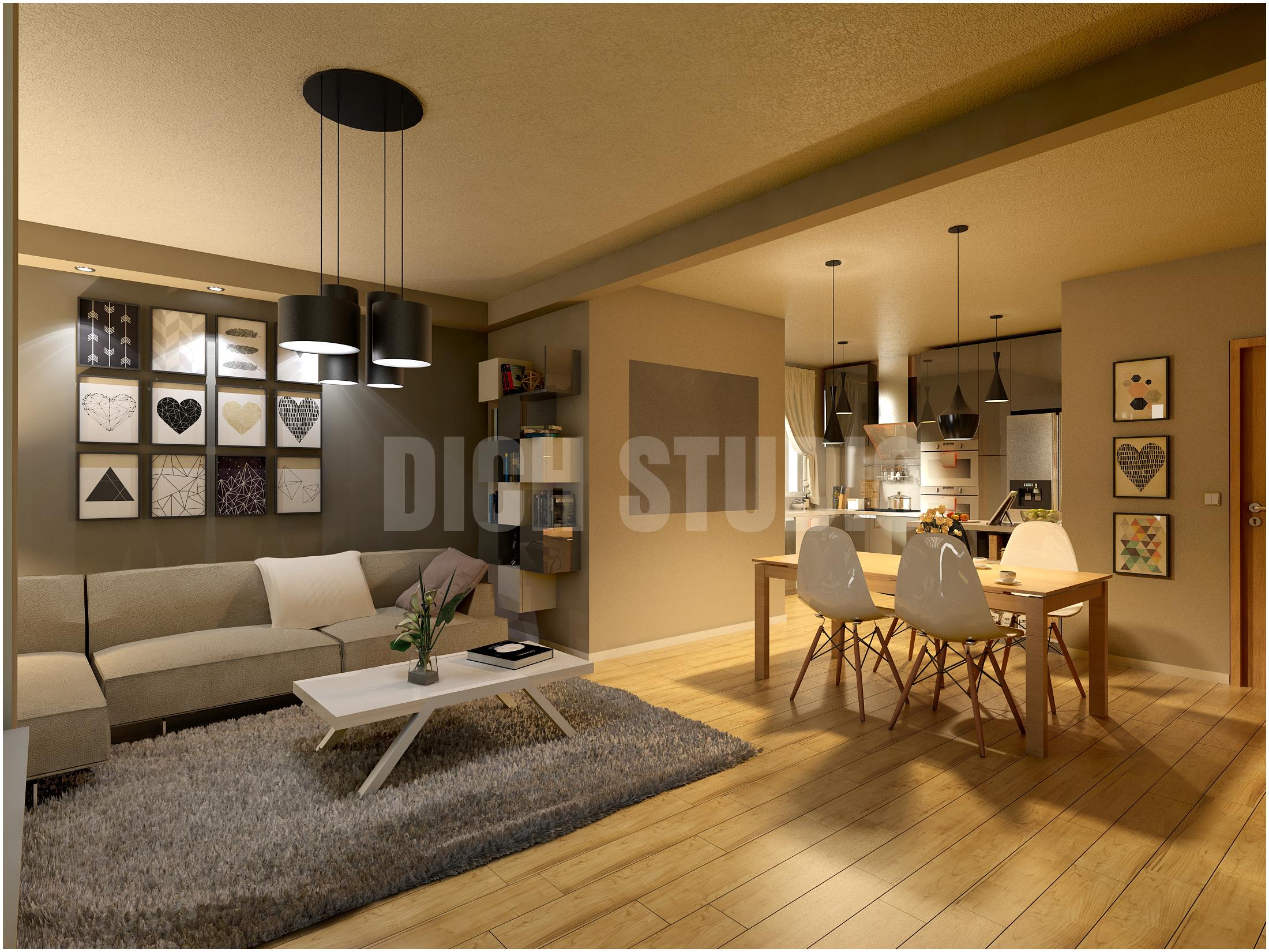 Living room rendering, apartment in Veliko Turnovo