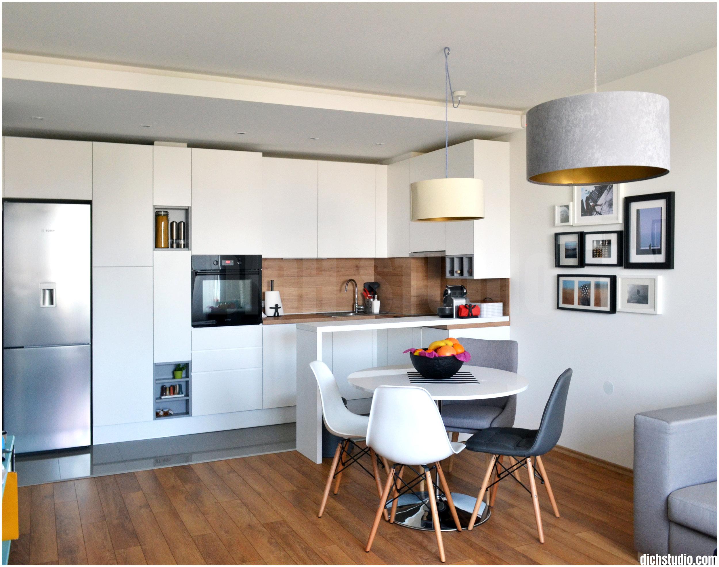 Снимка интериорен дизайн кухня дневна модерна бяла София