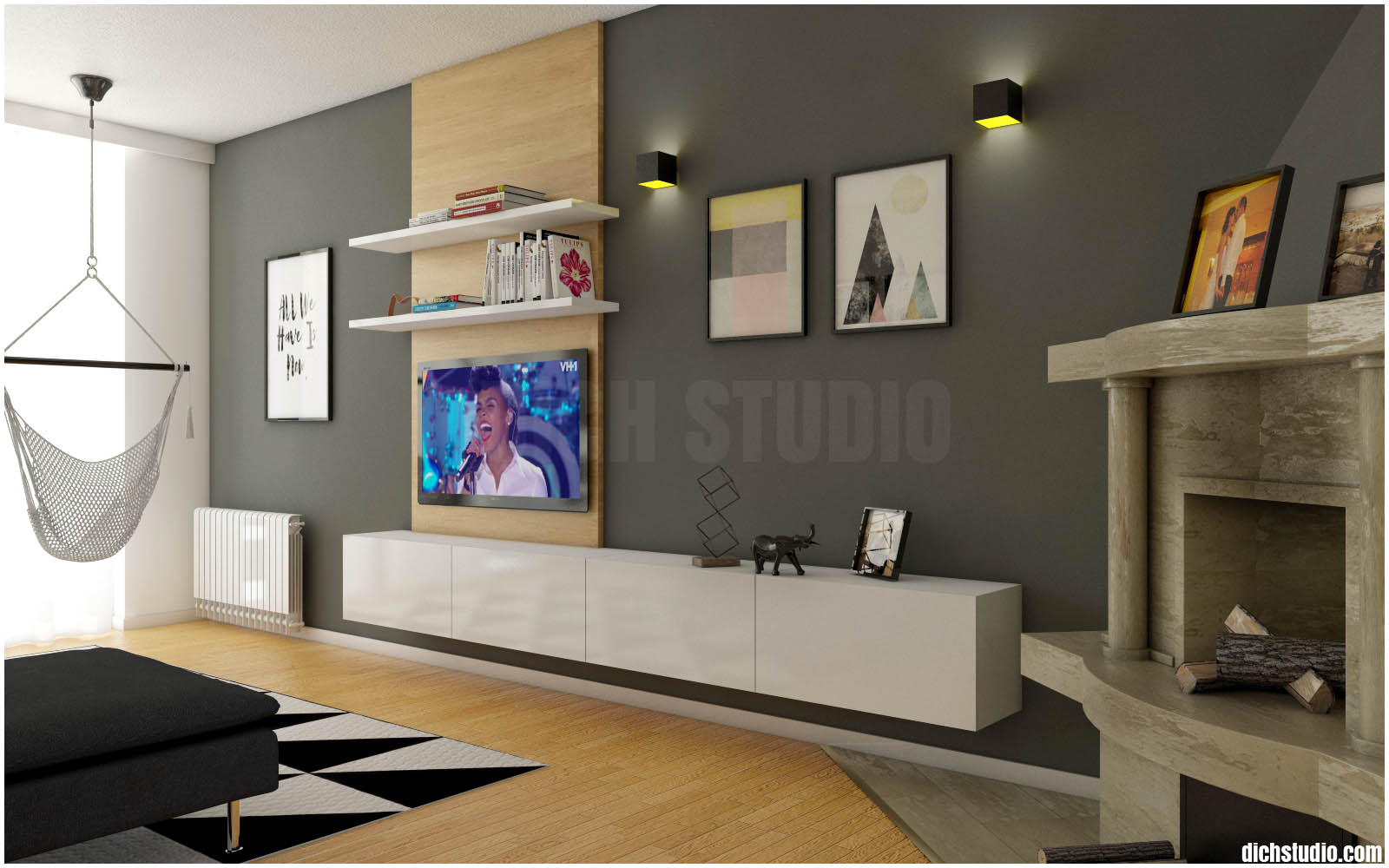 living room tv set interior design idea, Vratsa