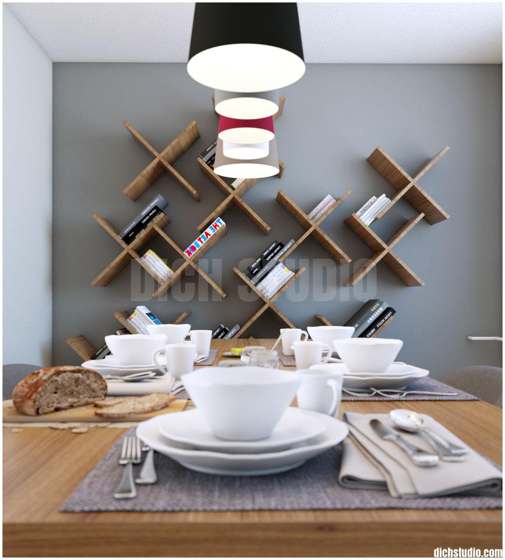 dinning room design bookshelf, Vratsa
