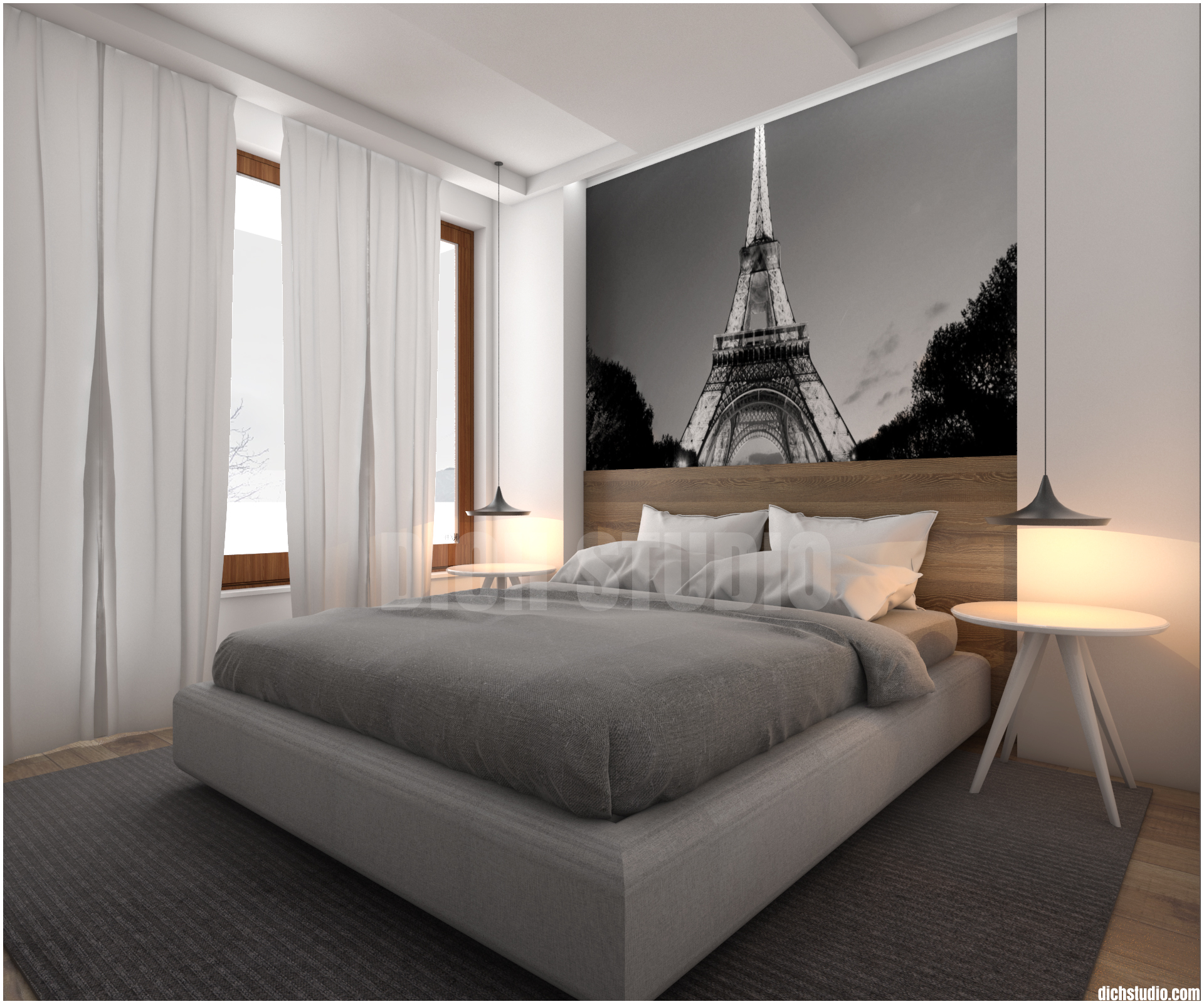 3д визуализация на спалня интериор