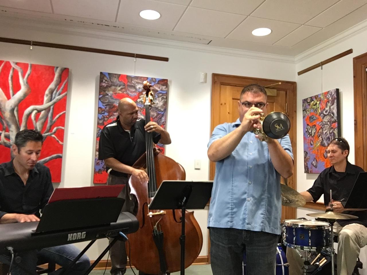 LtoR Dan Baily, Alan Gleghorn, Myself, Ricky Exton-Jazz History Library Series