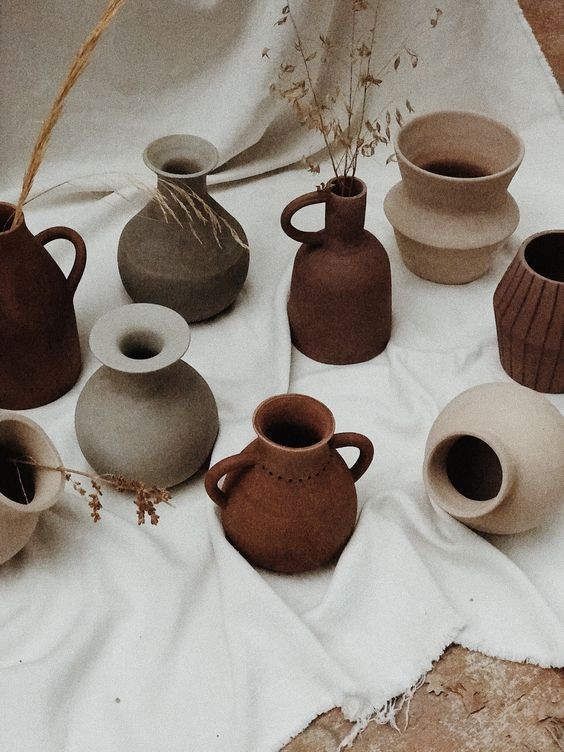 Brown pottery vases by Pampa