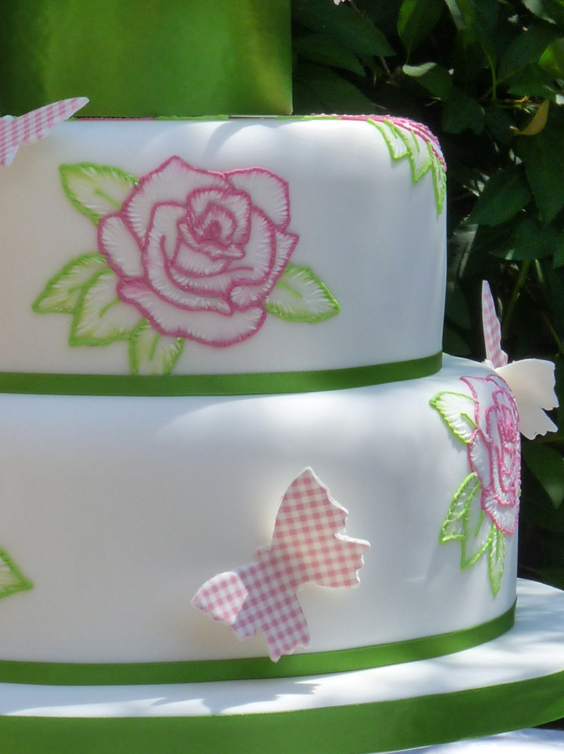 butterfly and rose cake