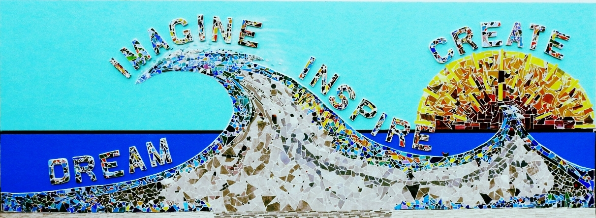 """""""The Wave,"""" Mosaic in honor of Nancy Dillen, BCC art educator, moved from Eastern Florida State University to the Eau Gallie Library. 2018"""