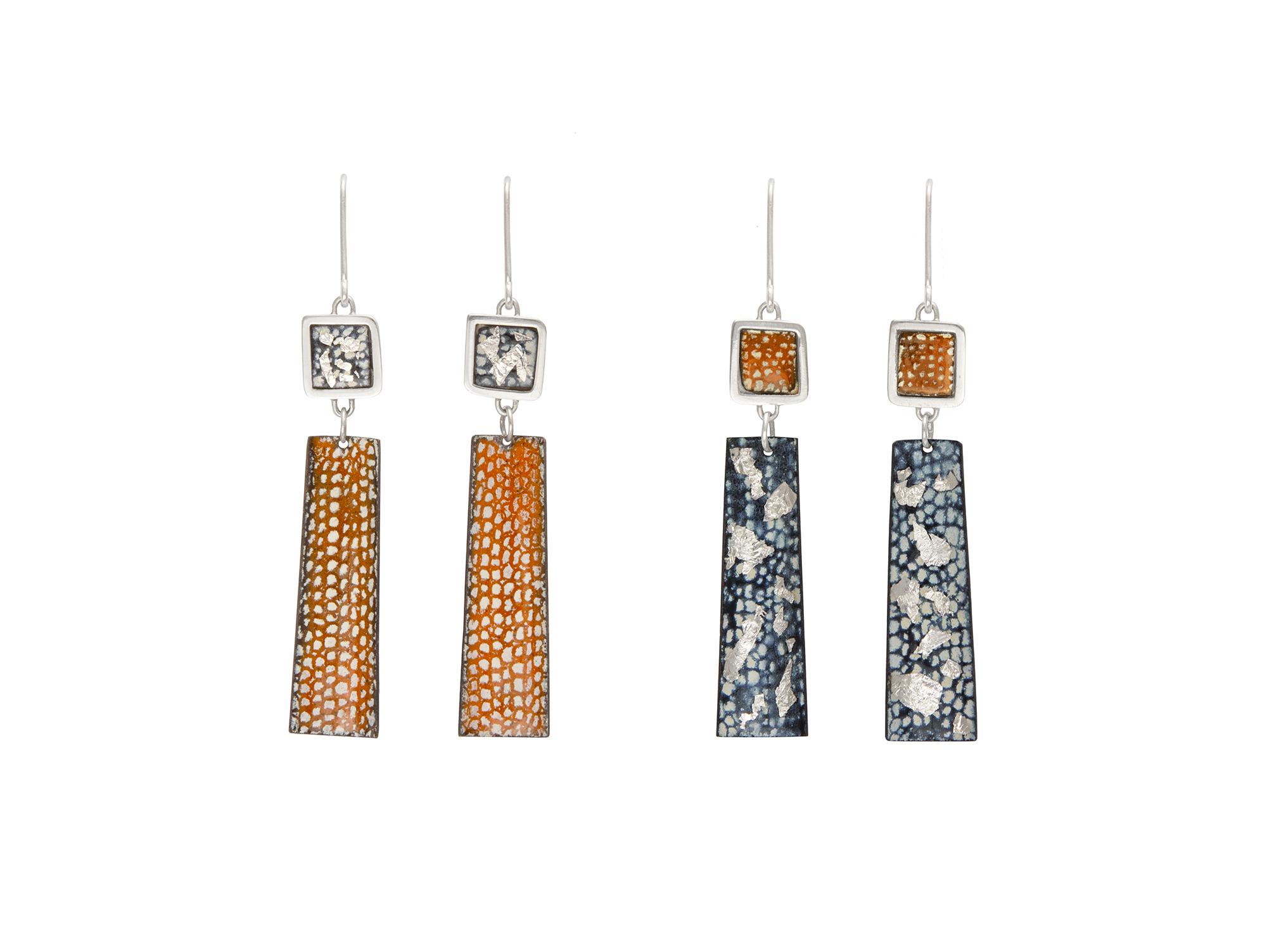 Drop Earrings - Enamel, Copper, Silver, Silver Leaf .jpeg