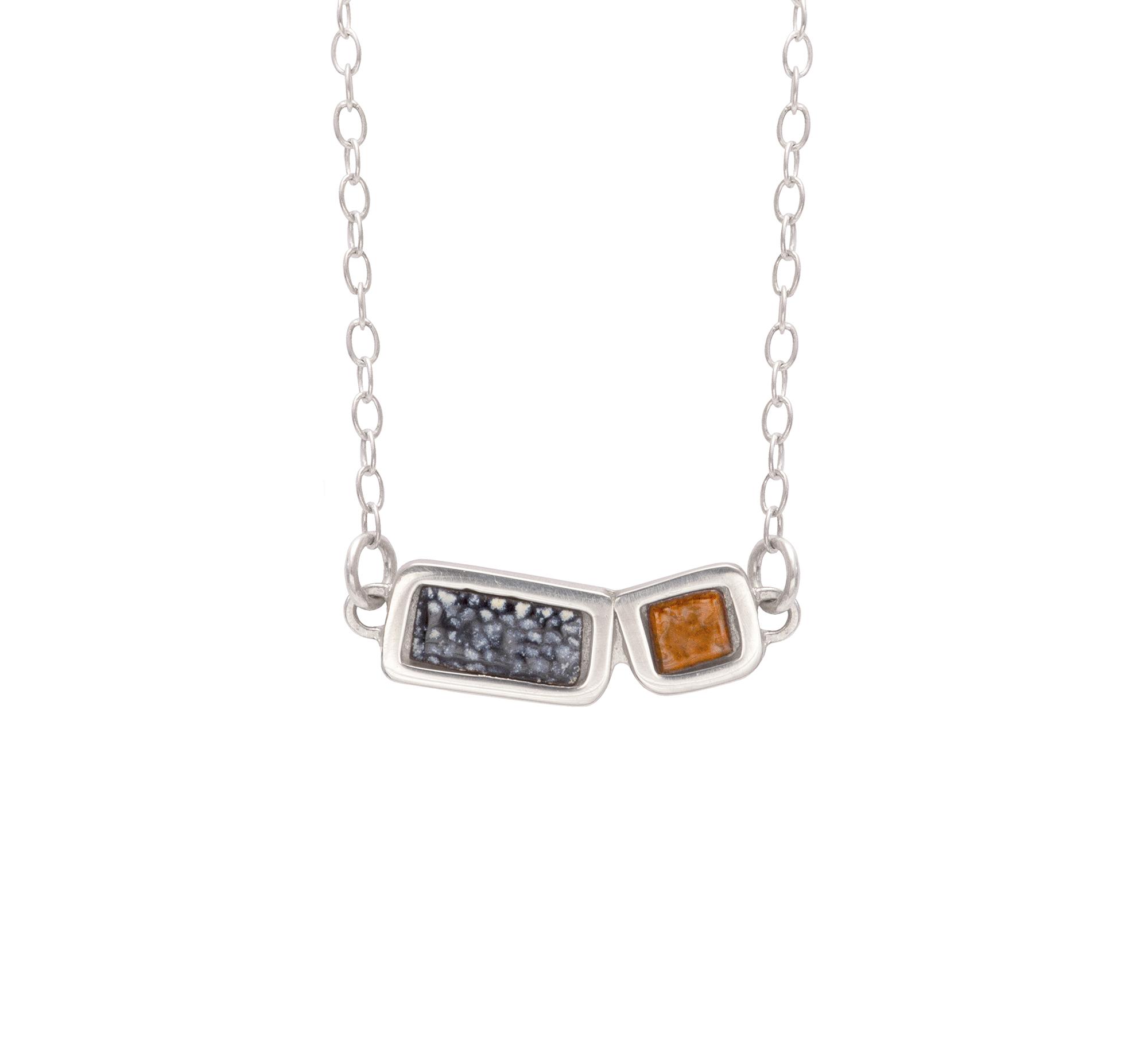 Two Piece Framed Necklace - Enamel, Silver, Copper .jpeg