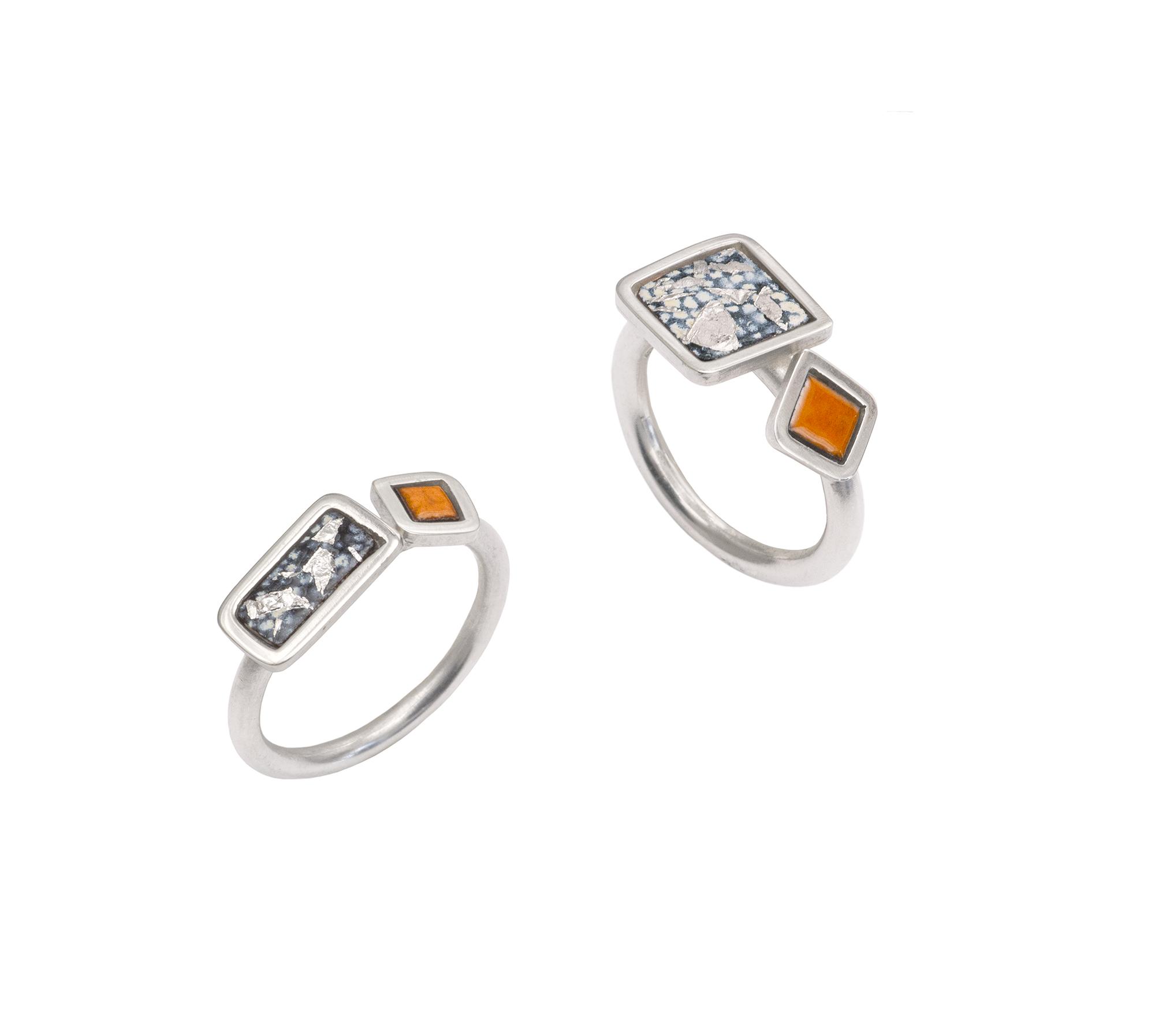 Two Piece Framed Rings - Enamel, Silver, Copper, Silver Leaf -.jpeg
