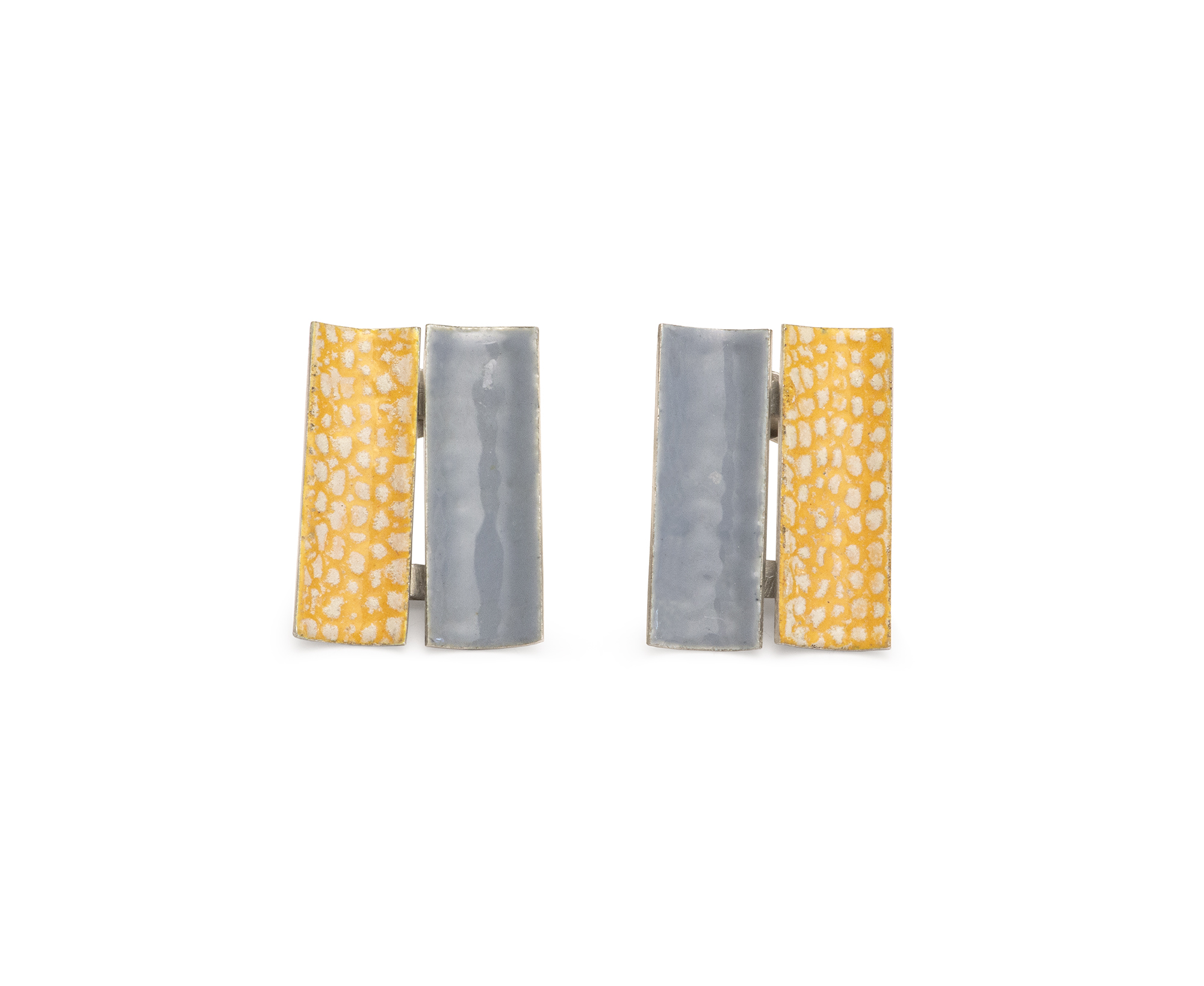 Two Piece Rectangle Stud Earrings in Grey and Yellow.jpg