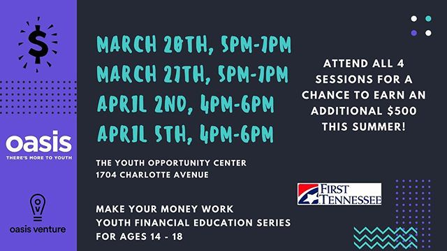OV Financial Education Series begins TOMORROW! 5pm-7pm at @oasiscenternashville Earn a PAID summer internship!!! #financialliteracy #youth #financialfreedom #nashville