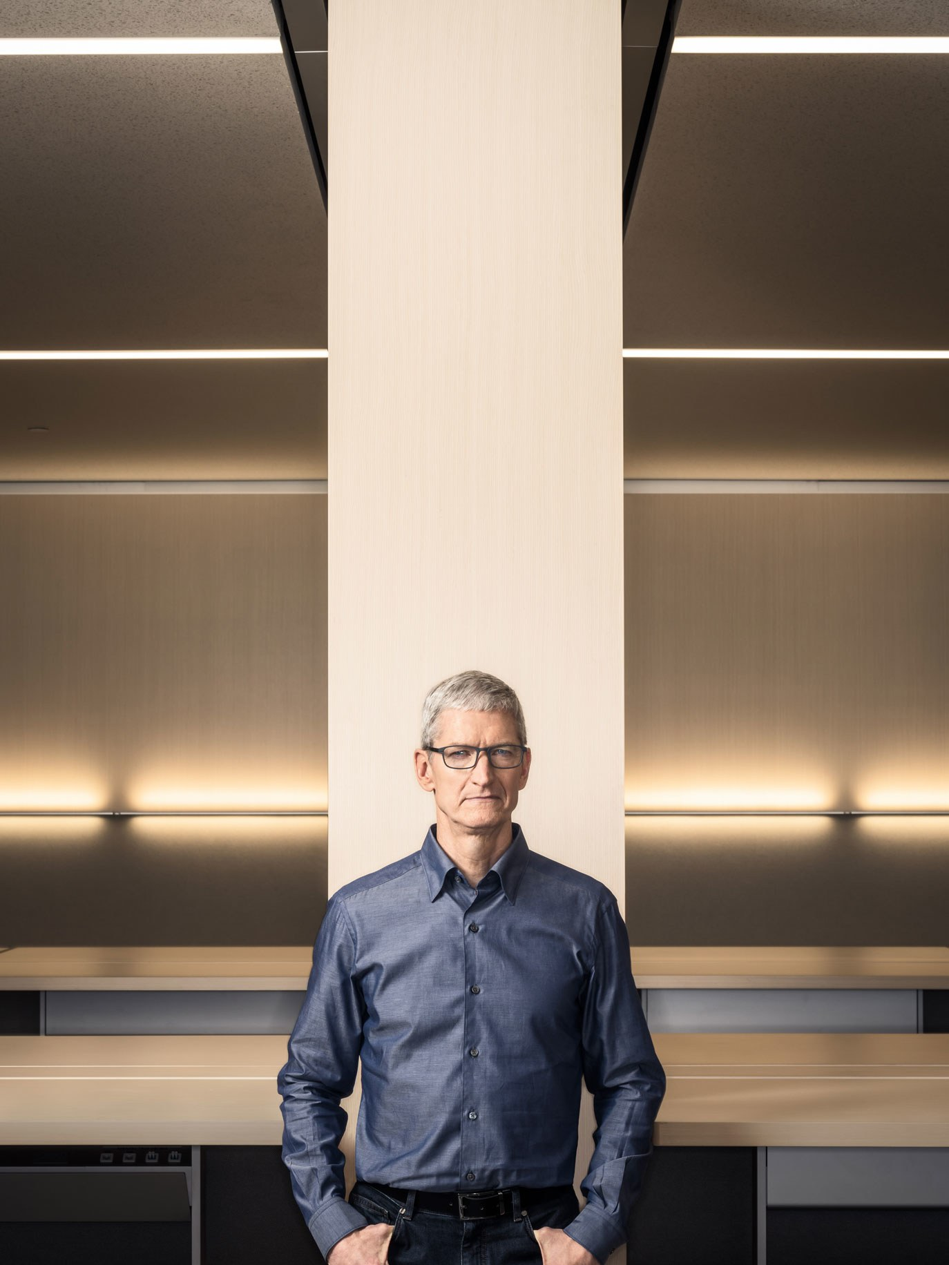 Apple CEO Tim Cook standing in front of a completed pod. All images courtesy of  Wired Magazine .