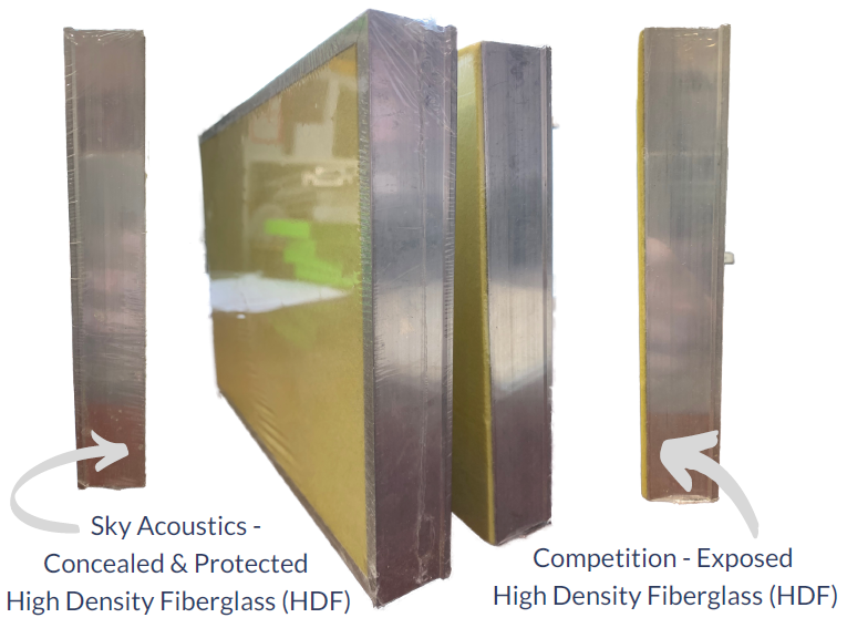 Sky acoustics panel on the left demonstrates how the aluminum edge conceals and protects the high density fiberglass while the competition leaves the high density fiberglass exposed and susceptible to damage.