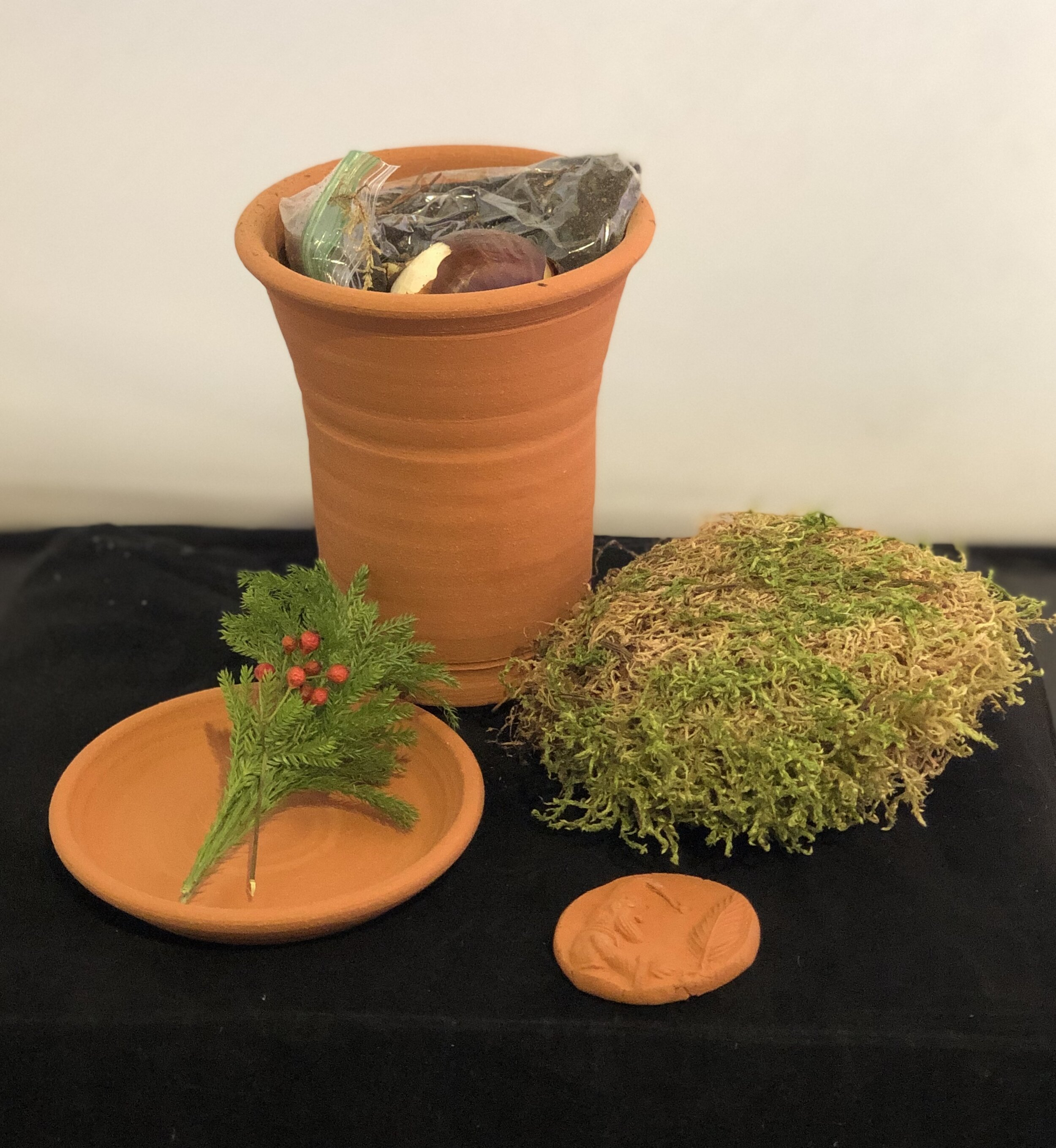 """The """"lid"""" on the top of the kit is actually the saucer that your potted up paper white will set on. The moss ;will act as a mulch over the bulb and your terracotta gift tag doubles as a holiday ornament."""